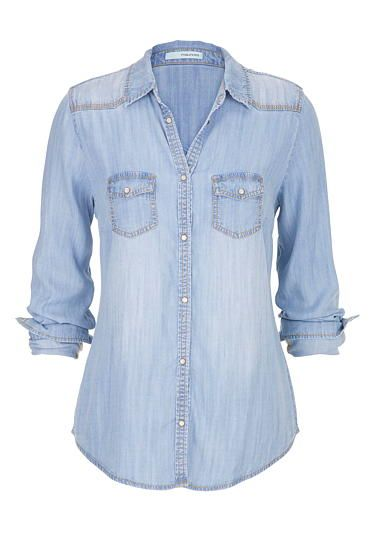 chambray button down shirt in medium wash (original price, $39) available at #Maurices