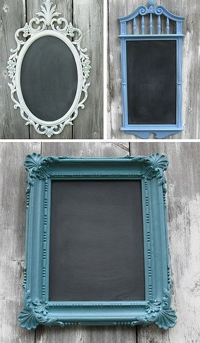 Buy cheap frames, paint the frame, and paint the glass with chalkboard paint ,