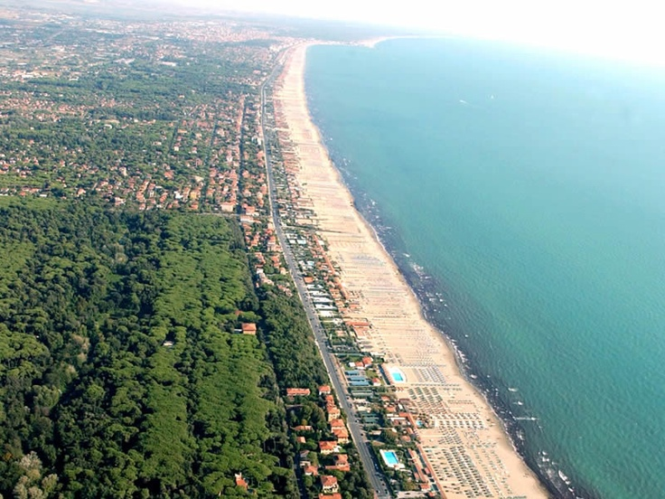 Versilia, Italy. A 20 km long line of sandy white beaches divided into seven municipalities: Viareggio, Pietrasanta, Camaiore, Forte dei Marmi, Massarosa, Stazzema, and Seravezza