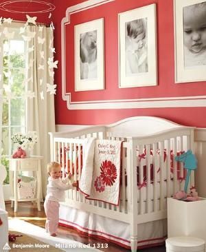 Love the pictures on the wall with the painted frame! and how the red just pops out! Love this!
