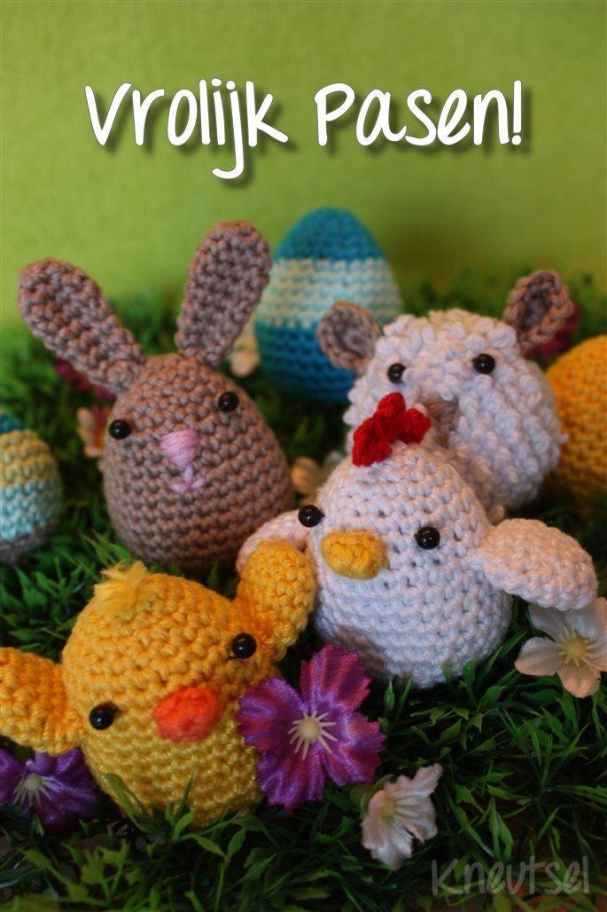 Haakpatronen konijntje, schaapje, ei en kipjes