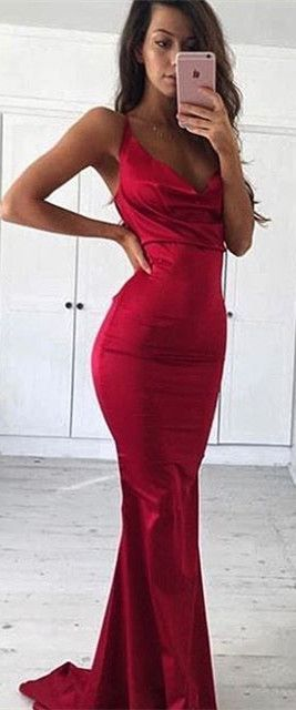 2017 Prom Dress, Red Long Mermaid Prom Dress,