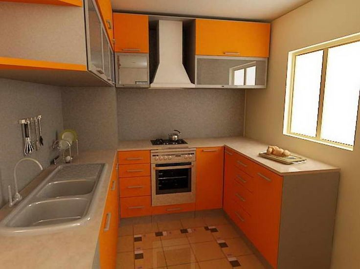 Small Kitchen Design Ideas Gallery With Cabinet Orange.
