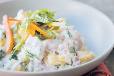 Raw fish salad recipe, Bite – Also known as kokoda, a very popular dish in the islands where fresh fish is abundant. This is my favourite way to eat really fresh fish. It's a dish I have very fond memories of as we usually have it at the beach, the bach or on a boat when someone catches a fish. Though technically the fish is not cooked (with heat), the flesh still has the texture and appearance of cooked fish, a result of the acid in the lime juice reacting with the protein. – foodhub.co.…