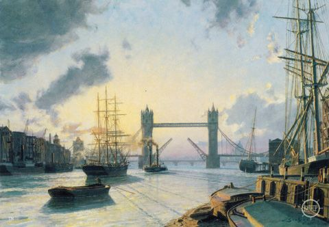 London: Sunset over the Thames in 1895. The scene is looking west just below Tower Bridge, its bascules raised to allow passage of the new arrival into the Pool of London. Beyond London Bridge marks the head of navigation for deep water ships, commerce being extended further westward by lighters being towed in groups of four or six by steam tugs. To the right is the Long Room on the second floor of the Customs House where all ships' masters were obliged to report their arrival and departure.