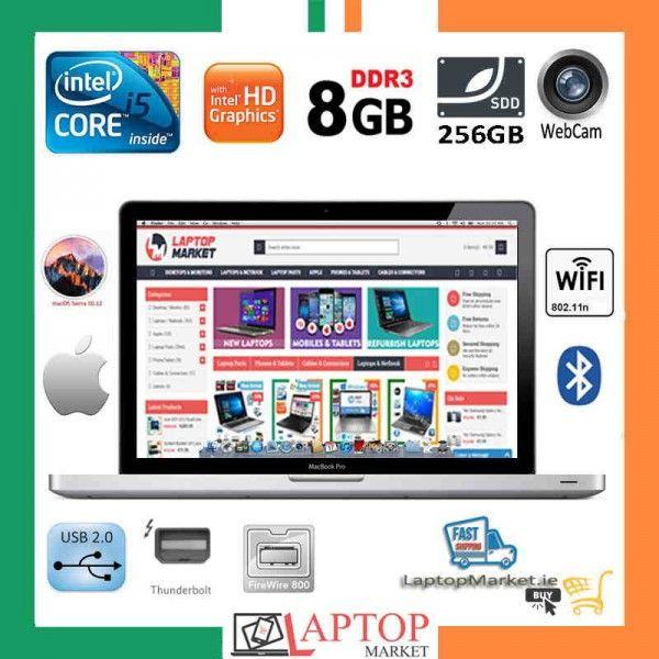 "Apple 13.3"" MacBook Pro A1278 Intel i5 8GB RAM 256GB SSD Webcam Silver"