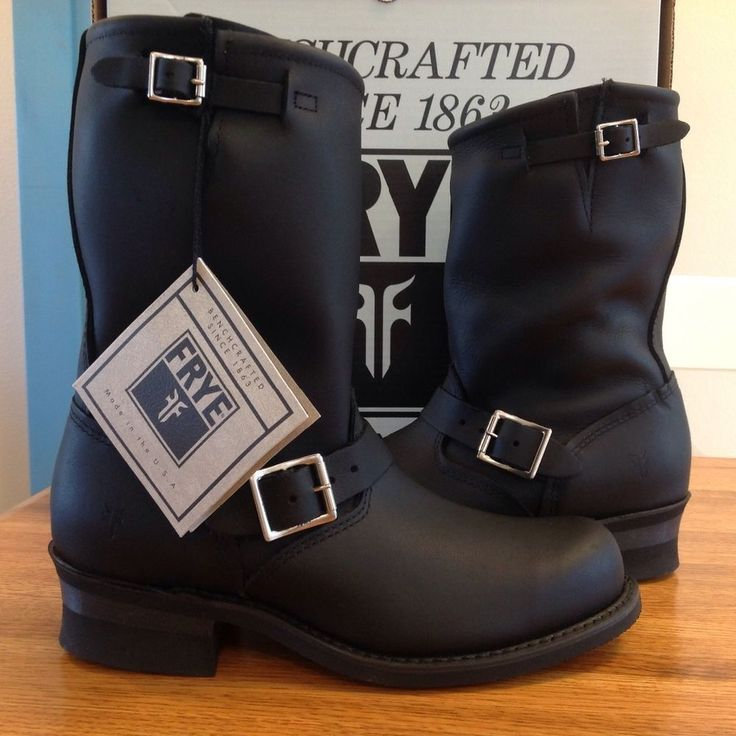 SALE $138 USA Made New FRYE Women's Engineer 12R Boot size 9.5 Black Moto Retail $278 #Frye #MidCalfBoots
