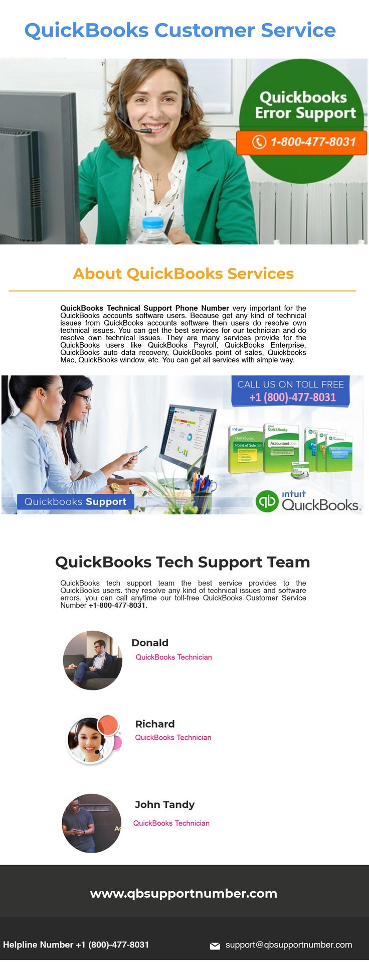 Talk to our QuickBooks Customer Support experts on toll free number +1-800-477-8031 and get all help you need with your QuickBooks business accounting software. You can also know about QuickBooks business accounting software but not know about technical errors then contact our QuickBooks expert team. Click for more info: https://www.qbsupportnumber.com/