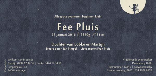 Geboortekaartje Fee - achterkant - Pimpelpluis - https://www.facebook.com/pages/Pimpelpluis/188675421305550?ref=hl (# meisje - fee - silhouet - origineel)