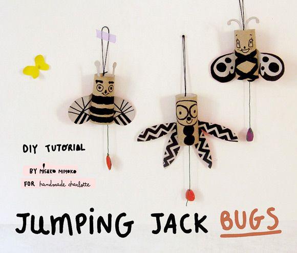 DIY Jumping Jack Bugs - super fun tutorial from misako mimoko!
