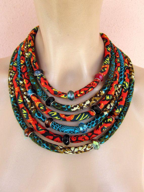 Línea de multi collar africano / collar de la por nad205 en Etsy