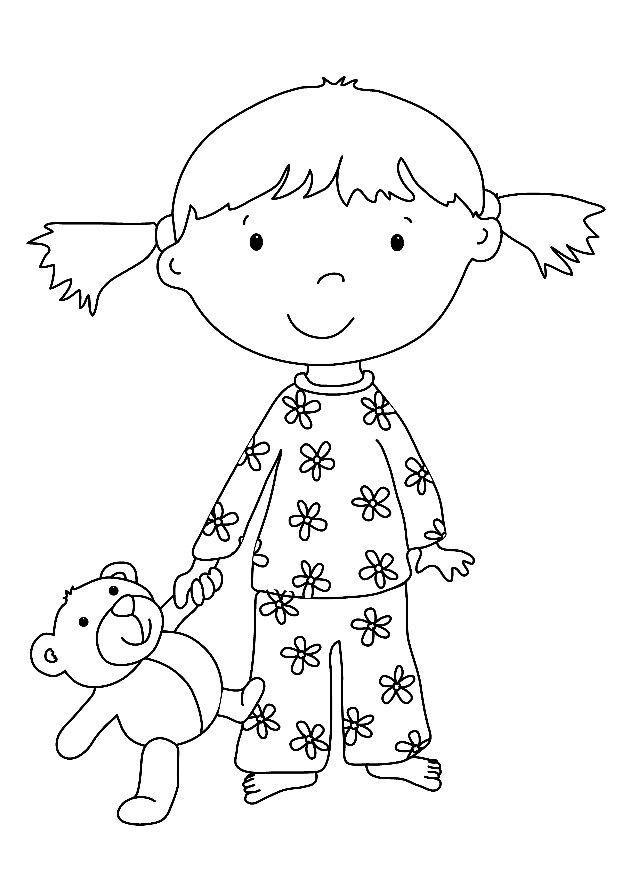 coloriage fille et ours en peluche et dessin colorier fille et