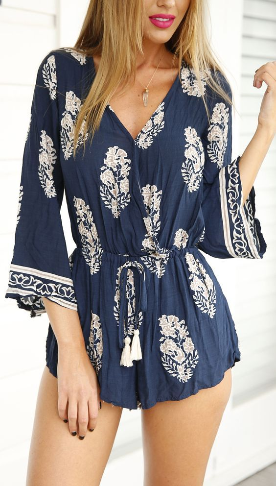 white and navy floral romper