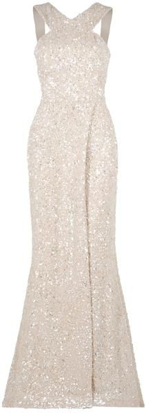 White and Gold Wedding. Gold Bridesmaid Dress. Elegant and Glamorous. EASTLAND Sequin Detail Gown - Lyst