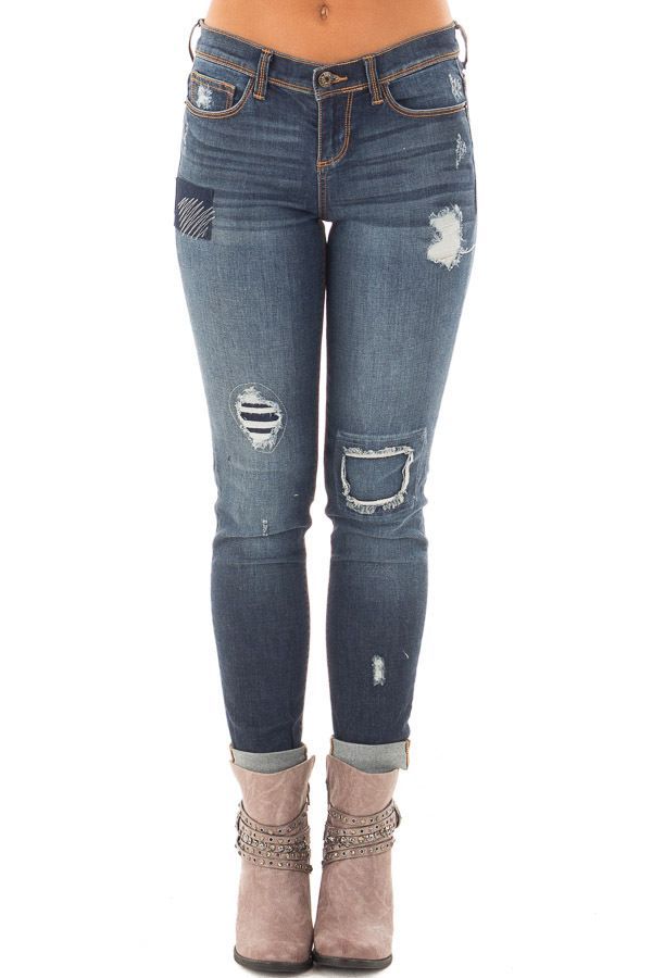 Lime Lush Boutique - Dark Wash Skinny Distressed Jeans , $46.99 (https://www.limelush.com/dark-wash-skinny-distressed-jeans/)