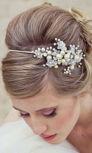 Rhinestone Wedding Tiara with Wired Flowers