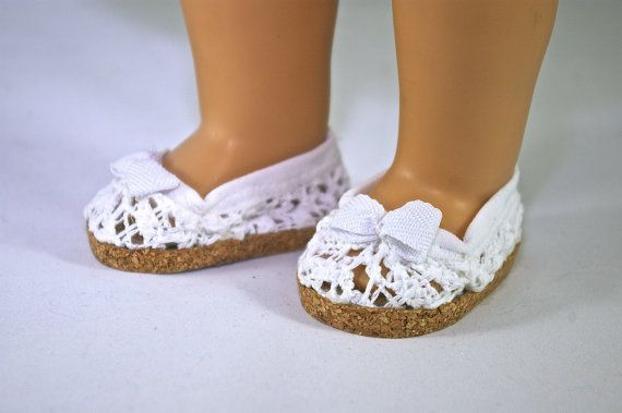 American Girl 18 inch doll shoes white lace by loreliecreations