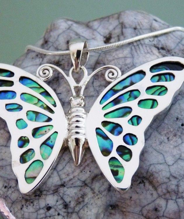 Paua shell butterfly pendant