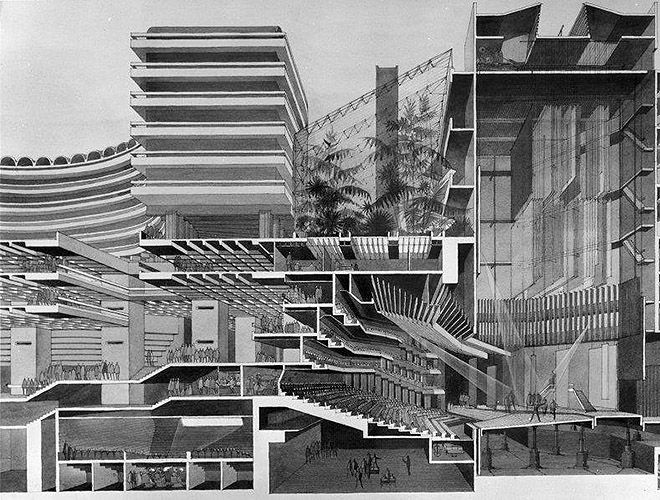 Barbican Centre, Silk Street, City of London: perspective section