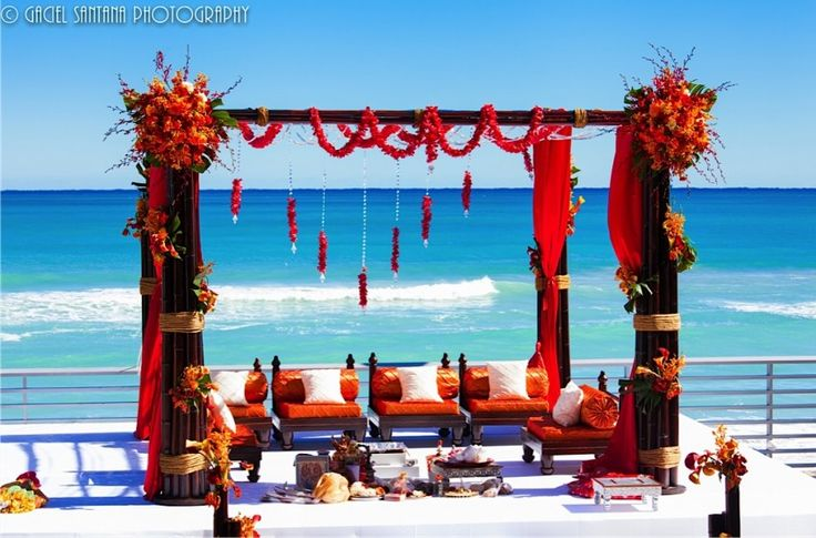 Marriott Harbour Beach, Fusion Mandap, Shades of Pink, Shades of Orange, Shades of Mustard, Suhaag Garden, Florida Indian Wedding Decorator, Decoration Vendors, Mandap, Gujurati Wedding, Outdoor Ceremony, Marigold Garlands, South Indian Wedding, Bamboo Mandap