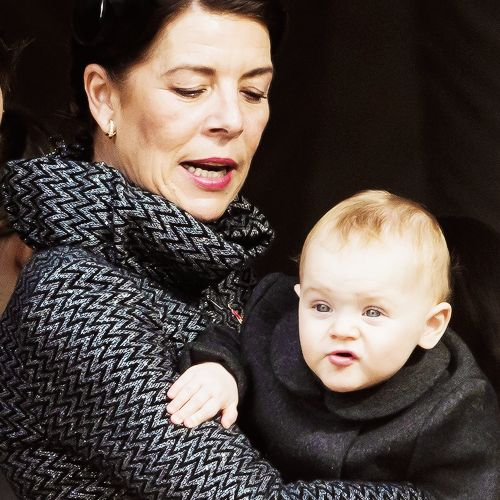 everythingoyalty:  Princess Caroline of Monaco holding her little niece, Princess Gabriella, November 19, 2015