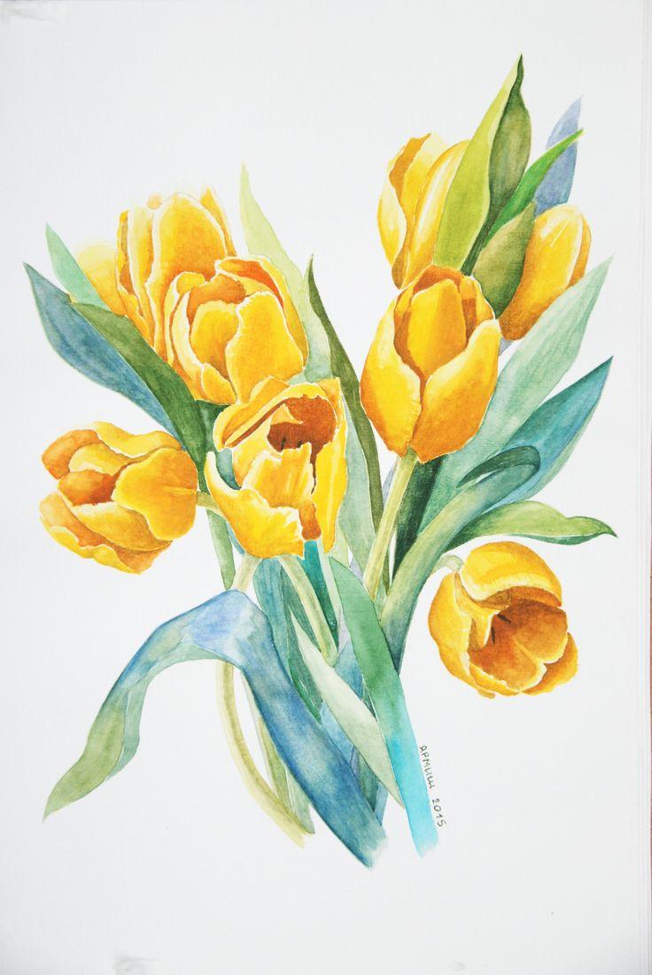Желтые тюльпаны по мотивам работ Пэт Ягер