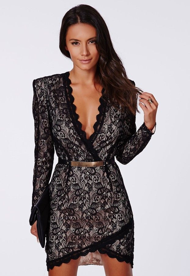 Missguided Nikhila Eyelash Lace Wrap Over Mini Dress In Black on shopstyle.com