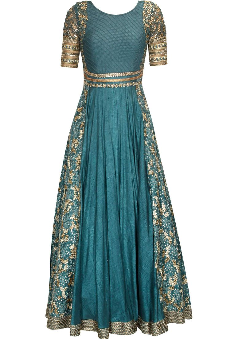 Teal blue and gold floral sequins embroidered anarkali suit available only at Pernia's Pop Up Shop.