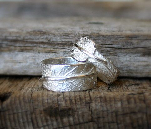 Imagine Me and You...His and Hers Sage Leaf Bands in Reclaimed Sterling Silver...Wedding, Marriage, Promise, Engagement, Commitment
