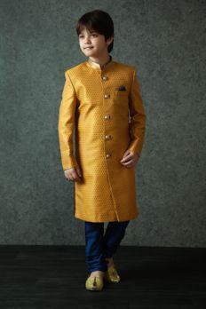 Jamawar sherwani embellished with kasab work highlighted with gold buttons from #Benzer #Benzerworld #ethnicwear #kidswear #sherwani
