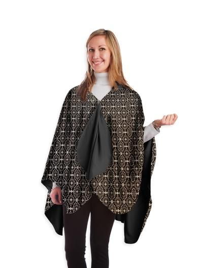 Black & White Tile Design - NEW! - hooded waterproof reversible rain cape poncho