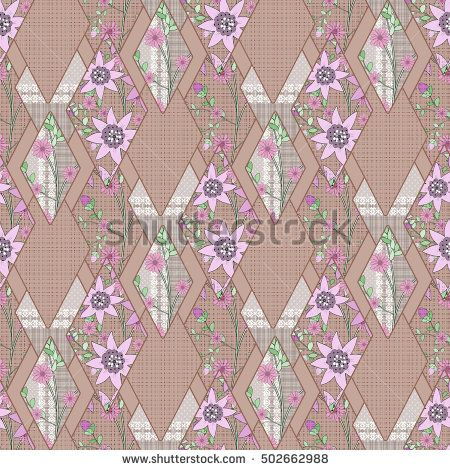 Patchwork abstract seamless floral, pattern texture brown background with decorative elements. delicate lilac flowers.