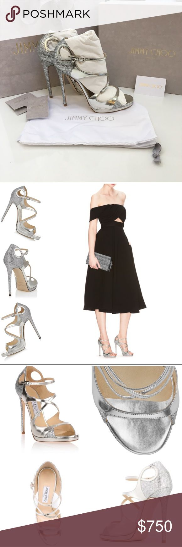 """Jimmy Choo Fancie120 Silver Sandals 39.5 Fancie 120 Silver Glitter Fabric & Mirror Leather Platform Sandals. Item No. FANCIE120GFL_S . Heel Height 120mm/4.7"""" with a 10mm/.4"""" platform. Perfect for a formal event or wedding. Worn Once!!!!! Comes with original dust bag, box, bag, packaging tissue/materials, receipt & information book. Small scuff marks on inner sides (see photos), not noticeable during wear. Sold out online! Jimmy Choo Shoes Heels"""