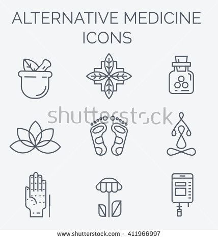Alternative Medicine icons. IV Vitamin Therapy, Anti-Aging, Wellness, Ayurveda, Chinese Medicine. Holistic centre.
