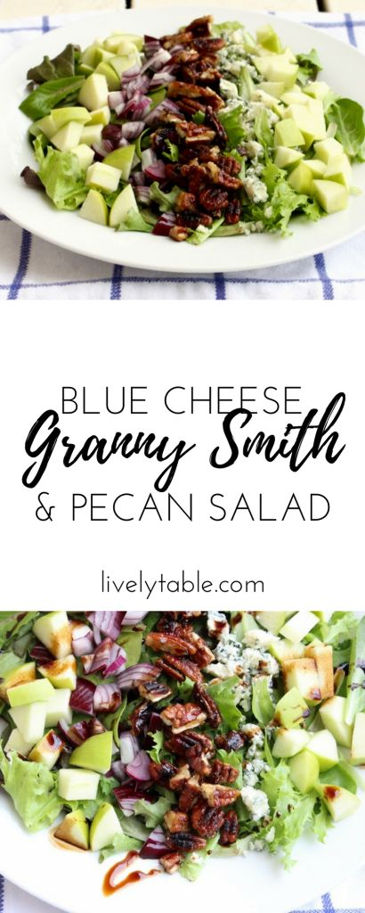 A sweet and delicious salad, Mel's Granny Smith Salad is filled with crisp granny smith apples, blue cheese and crunchy candied pecans for a healthy treat! (gluten free, vegetarian) via livelytable.com