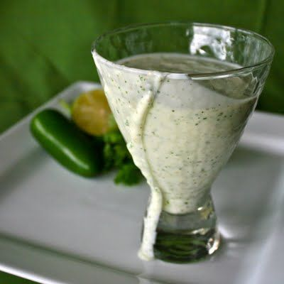 Creamy Jalapeno Ranch  3/4 cup sour cream   3/4 cup mayo   Juice of 1/2 lime  1 small bunch of chives (or 2 Tbsp dried)  Small handful cilantro  1-2 jalapenos, seeds and stem removed  1/4 tsp salt  1/4 tsp fresh ground black pepper  1 clove garlic  1/4 to 1/2 cup buttermilk (optional, depending on texture desired)