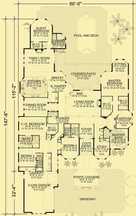 Architectural House Plans : Floor Plan Details : Exquisite Waterfront Mediterranean