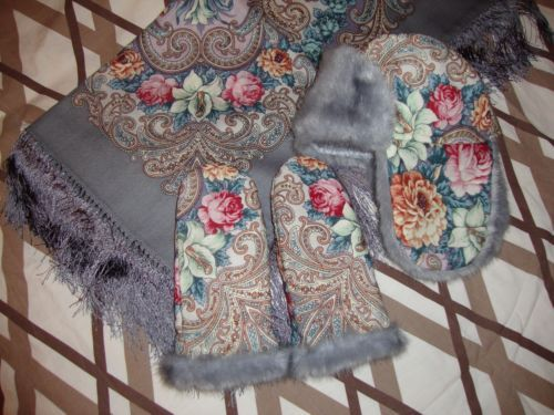 """RUSSIAN-ORIGINAL-100-WOOL-PAVLOVO-POSAD-SHAWL-MITTENS-HAT-w-FAUX-FUR-TRIM...YOU CAN BUY THE WHOLE SET, YOU CAN BUY SEPARATELY EACH ITEM.US $120-US $30"""""""