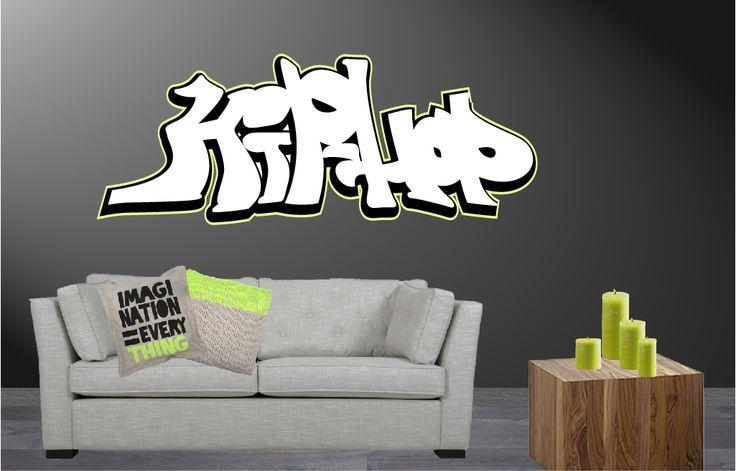 Voor coole kids, deze muursticker in graffiti stijl. In diverse formaten verkrijgbaar.