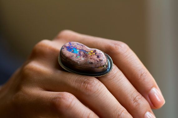 Mexican Fire Opal Ring, Boulder Opal Ring - Collector Stone - Keeper of Secrets - Size 8