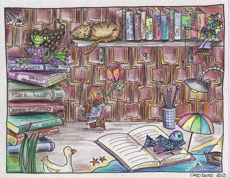 creyon y tinta sobre cartulina, entre libros. 2013.