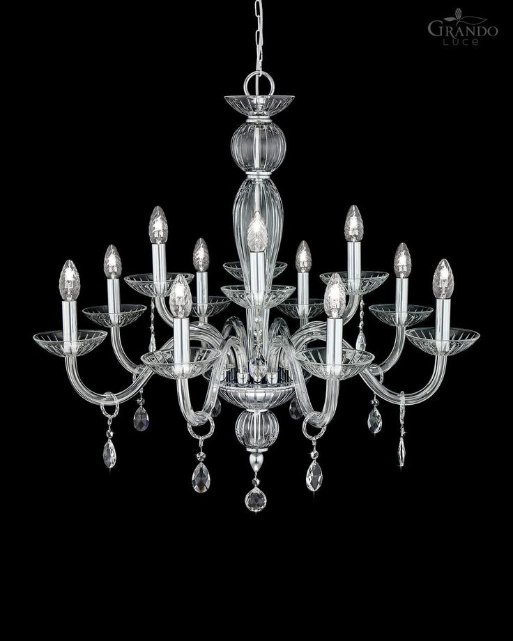 112/8+4 CH chrome crystal chandelier with Swarovski Elements crystal. - GrandoLuce