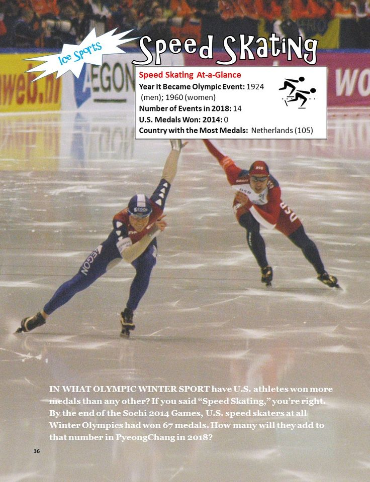 """Speed skating is one of 15 sports that will be contested at the 2018 Winter Olympics in PyeongChang, South Korea. Learn more about the 15 Olympic sports events and some Team USA """"Athletes to Watch"""" in """"A Kid's Guide to the 2018 Winter Games"""" for kids ages 9-12 (and their parents, too!)"""