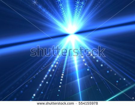 Rays burst - abstract computer-generated image. Fractal art: bright surface with stripes, stars and horizon. Technology or festive background for covers, posters, web design.