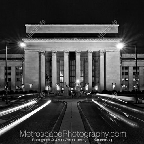 Black and White Picture of 30th Street Station at Night in Philadelphia. Framed, and Ready-to-Hang in a variety of frame styles and sizes.