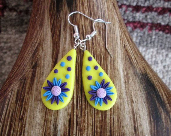 floral polymer clay earrings polymer clay spring fashion boho gift for her  by FloralFantasyDreams