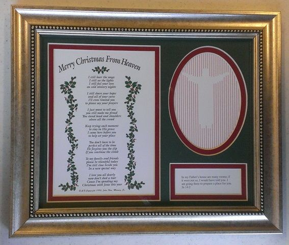 Our Merry Christmas from Heaven remembrance picture frame with poem and photo cutout measures 8 X 10 #Christmas #Holiday #ChristmasGifts #Memorials #MemorialGifts http://www.thecomfortcompany.net/