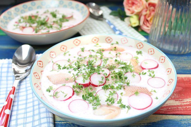 Low Carb Rezepte von Happy Carb: Erfrischende Radieschensuppe mit Forelle.