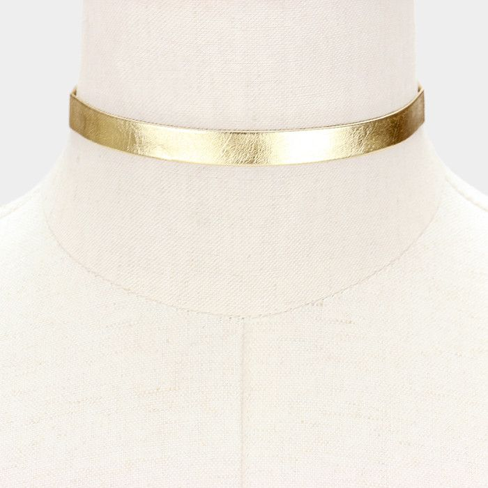 "12"" gold metallic collar choker necklace .50"" wide"