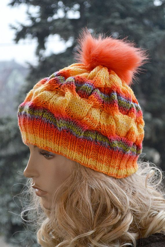 Rainow Knitted cap in fur pompom cap  hat lovely by DosiakStyle